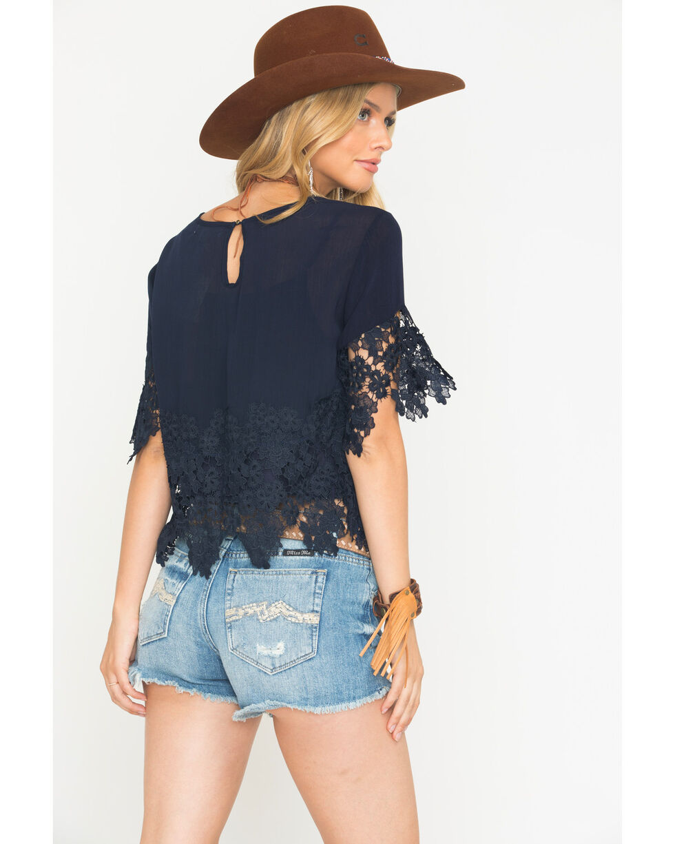 Blush Noir Women's Floral Lace Top , Navy, hi-res