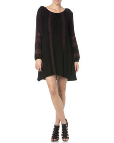 Miss Me Black Embroidered Peasant Dress, Black, hi-res