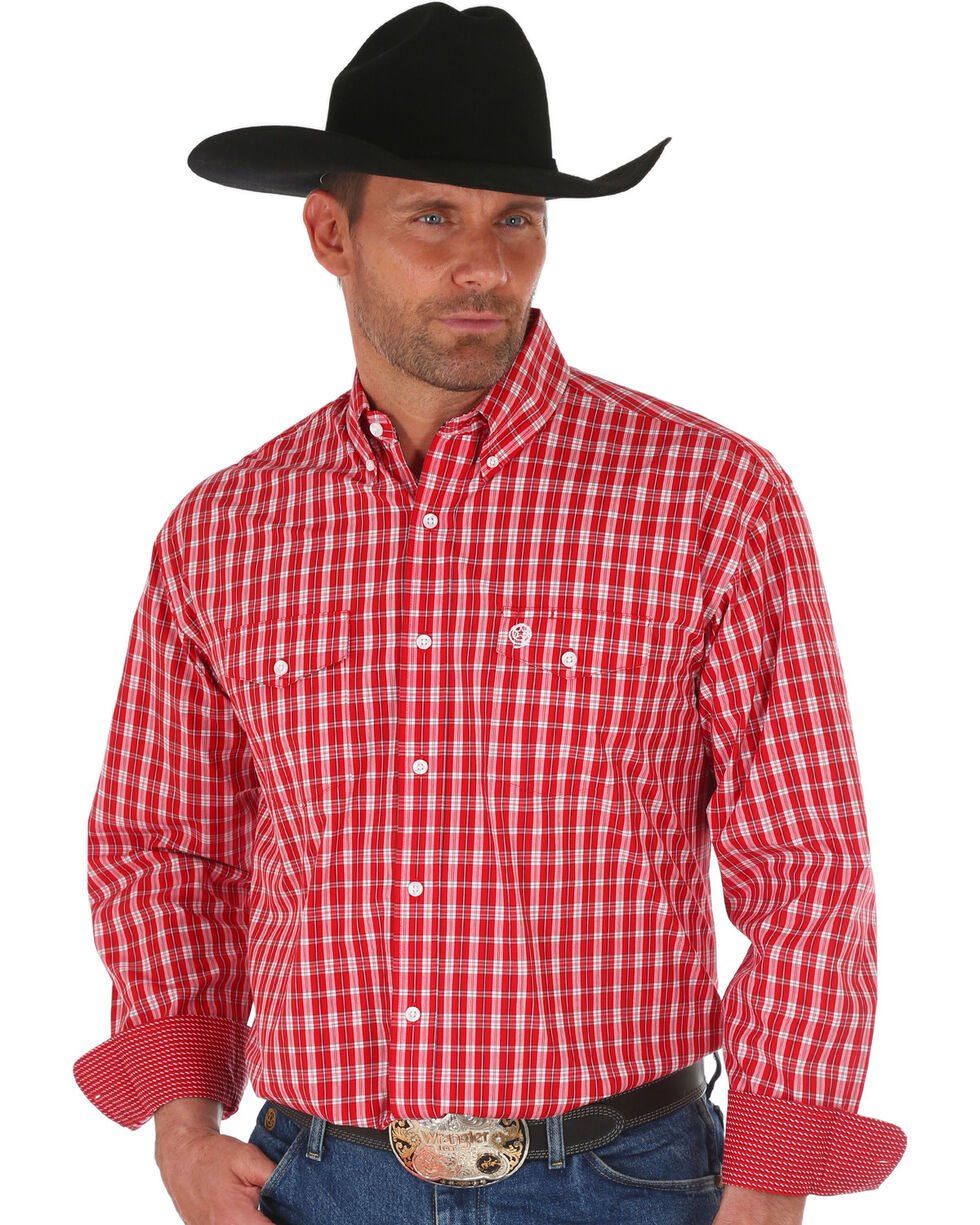 Wrangler George Strait Men's Red Checker Plaid Shirt - Big, Red, hi-res