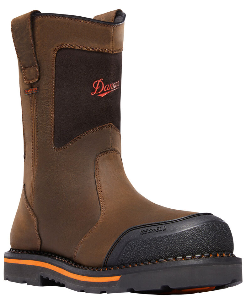 Danner Men's Brown Trakwelt Wellington Waterproof Boots - Composite Toe, Brown, hi-res