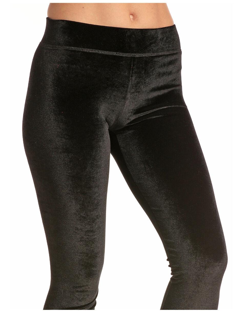 Rock & Roll Cowgirl Women's Velvet Leggings, Black, hi-res