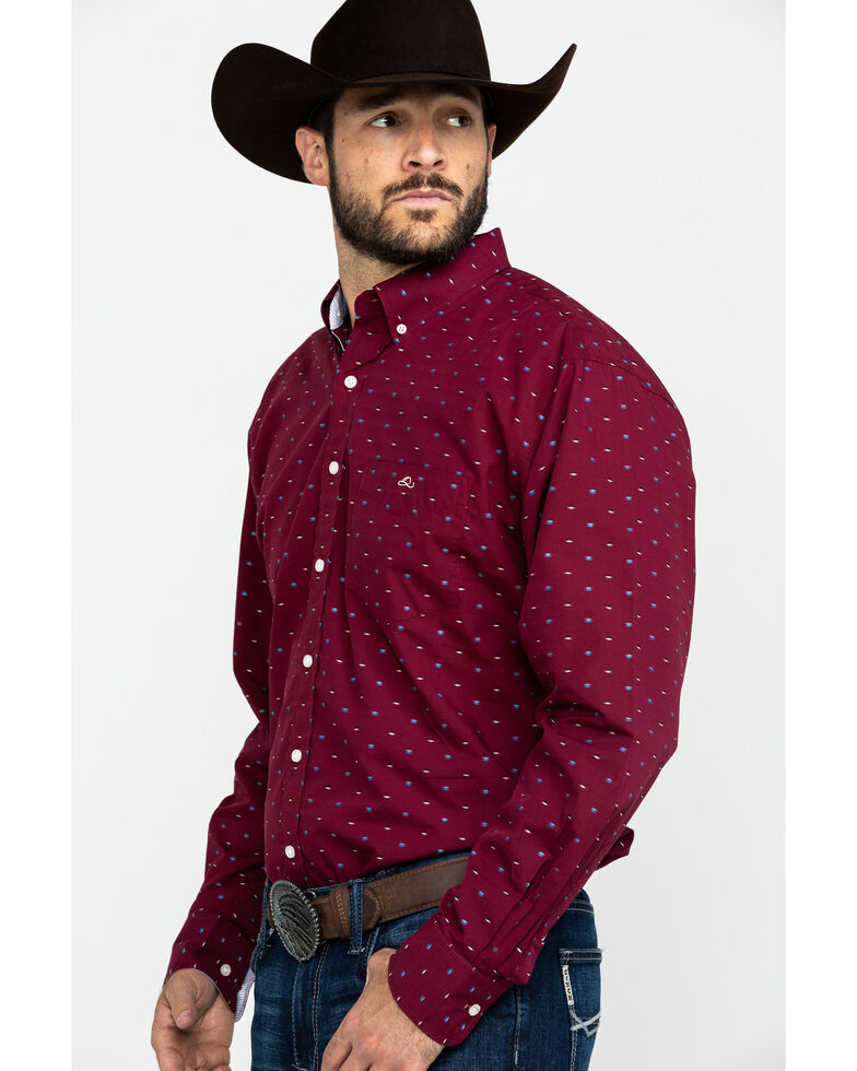 Resistol Men's Groppe Geo Print Long Sleeve Western Shirt , Red, hi-res