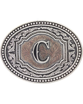 "Montana Silversmiths Men's Initial ""C"" Two-Tone Attitude Belt Buckle, Silver, hi-res"