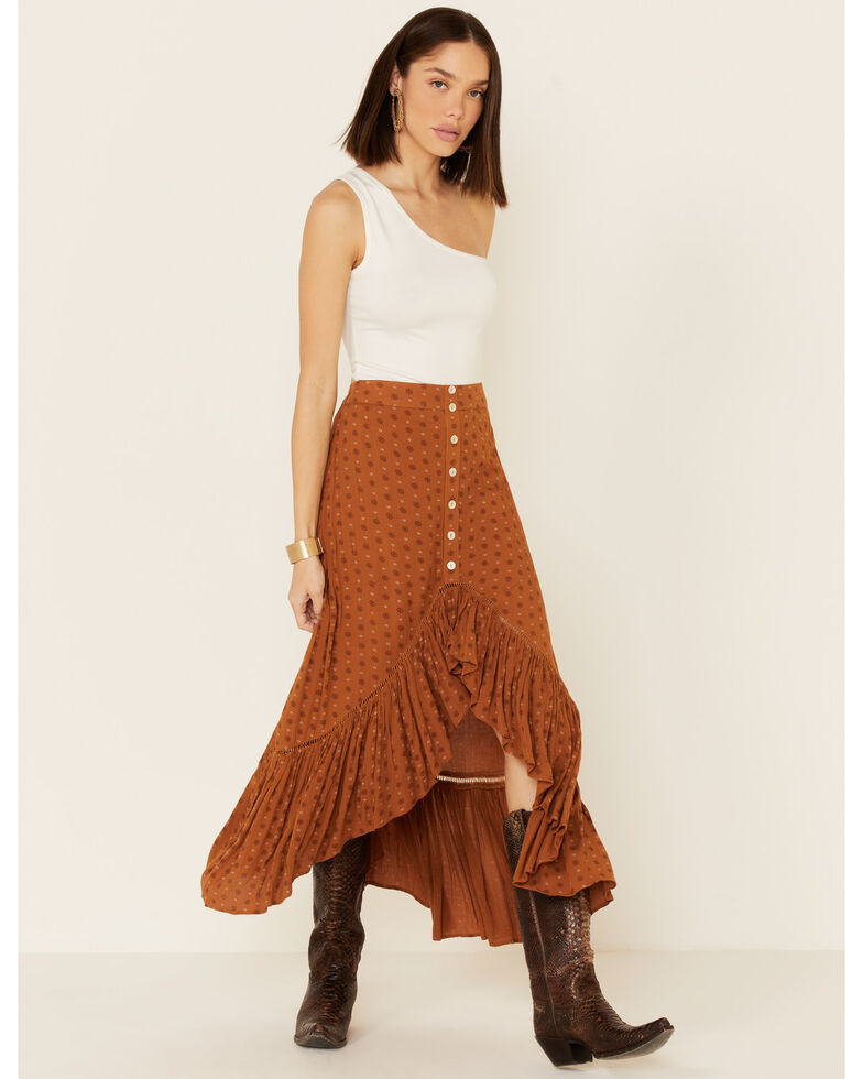 Shyanne Women's Cognac Printed Hi-Low Button Skirt, Pecan, hi-res
