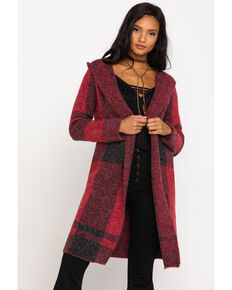 Mystree Women's Buffalo Plaid Hooded Cardigan Duster, Red, hi-res