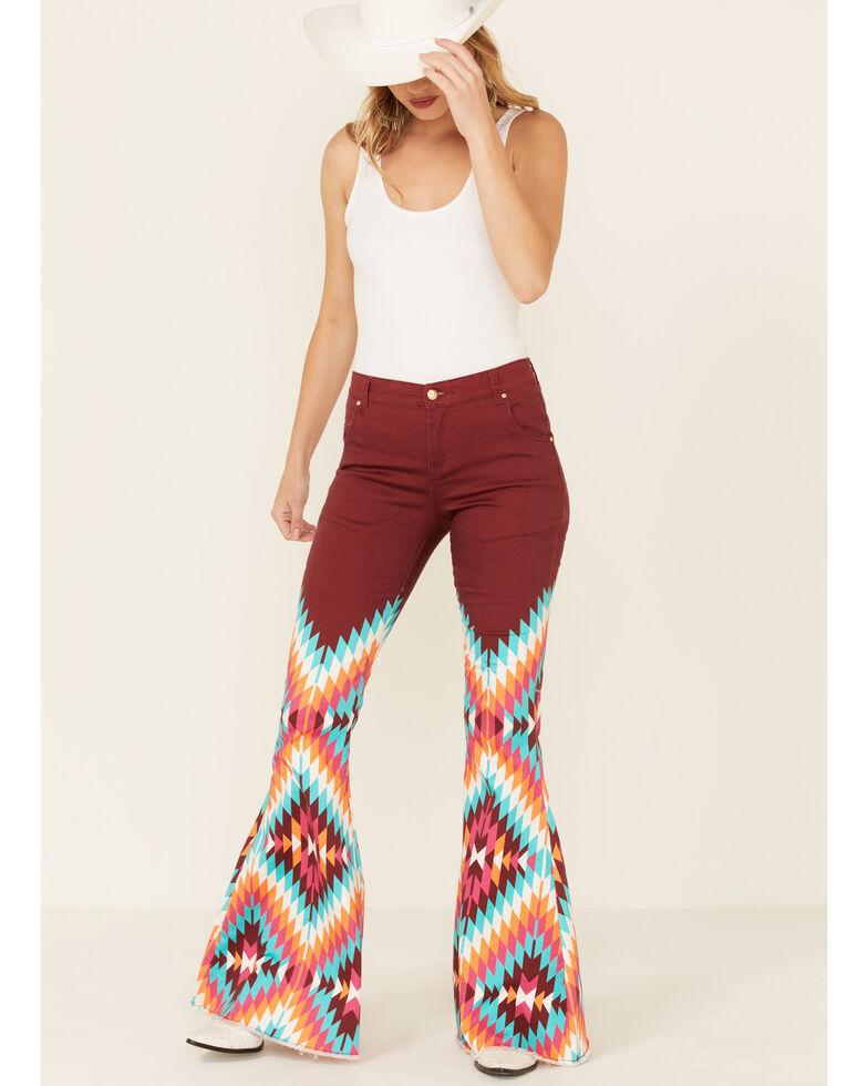 Ranch Dress'n Women's Dakota Aztec Flare Leg Jeans, Burgundy, hi-res