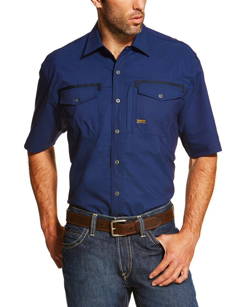 Ariat Men's Navy Rebar Short Sleeve Work Shirt - Big, Navy, hi-res