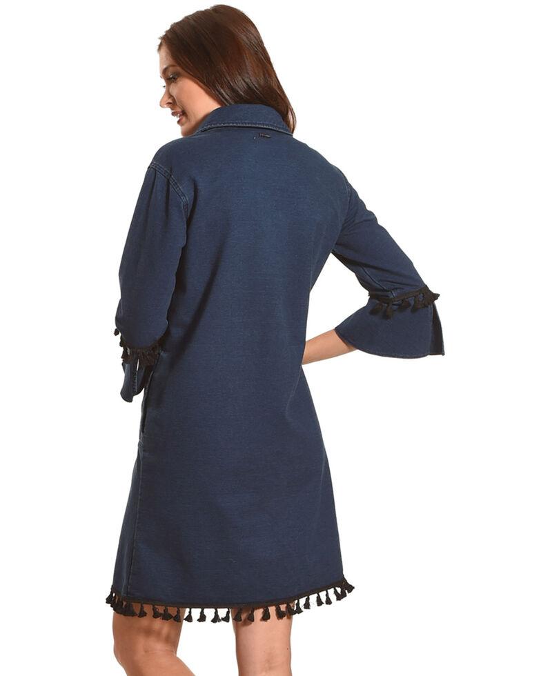 Tractr Women's Tassel Trim V-Neck Dress, Indigo, hi-res