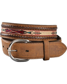 Silver Creek Men's Bucklace Edged Aztec Belt, Bark, hi-res