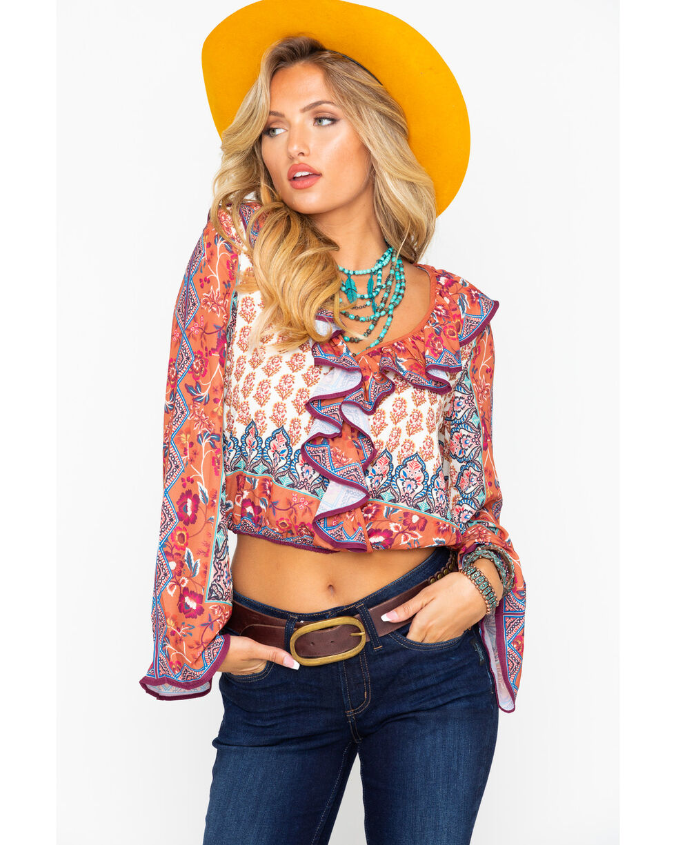Flying Tomato Women's Mixed Boho Surplace Ruffle Printed Long Sleeve Top , Rust Copper, hi-res