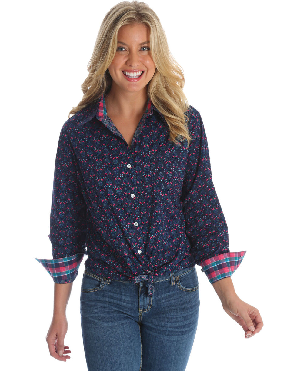 Wrangler Women's George Strait Navy Floral Print Shirt , Multi, hi-res