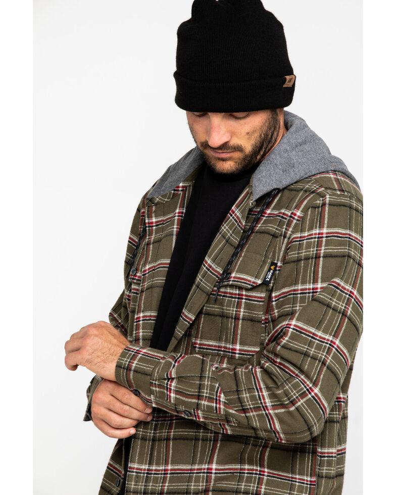 Hawx® Men's Olive Mission Plaid Hooded Long Sleeve Shirt Work Jacket, Olive, hi-res
