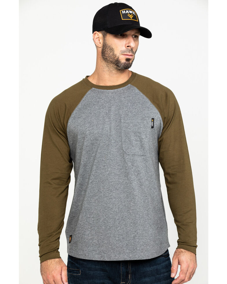 Hawx Men's Olive Baseball Raglan Crew Long Sleeve Work Shirt, Olive, hi-res