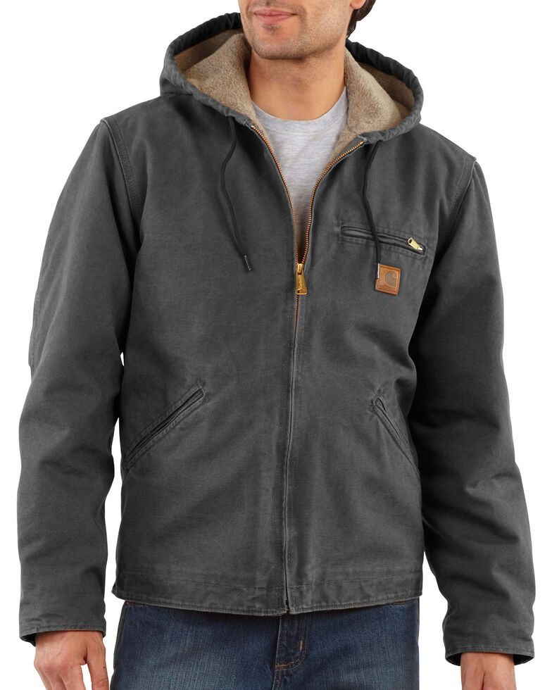 Carhartt Men's Sandstone Sierra Sherpa Lined Jacket, Grey, hi-res