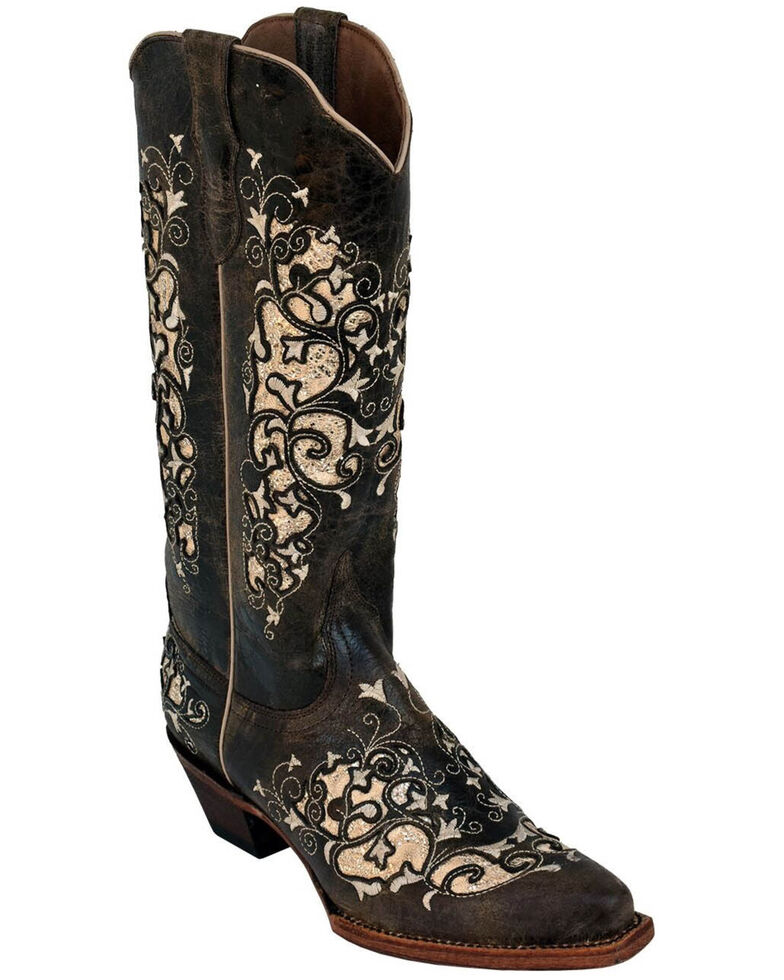 Ferrini Women's Distressed Dazzle Western Boots - Square Toe, Chocolate, hi-res