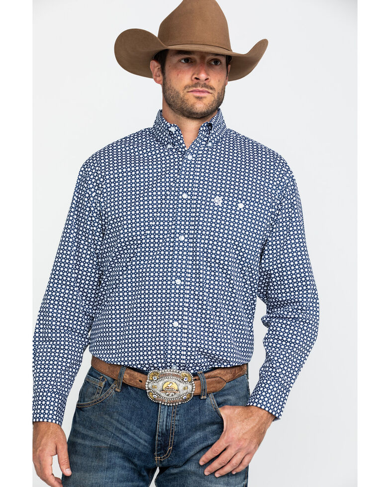 George Strait By Wrangler Men's Navy Geo Print Long Sleeve Western Shirt - Big , Navy, hi-res