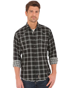 Wrangler Retro Men's Double-Faced Plaid Long Sleeve Western Shirt , Black, hi-res