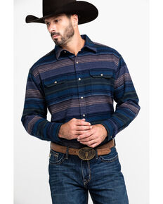 Ely Cattleman Men's Brawny Horizontal Striped Long Sleeve Flannel Shirt , Navy, hi-res
