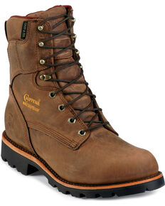 "Chippewa Insulated Waterproof 8"" Lace-Up Work Boots - Round Toe, Bay Apache, hi-res"