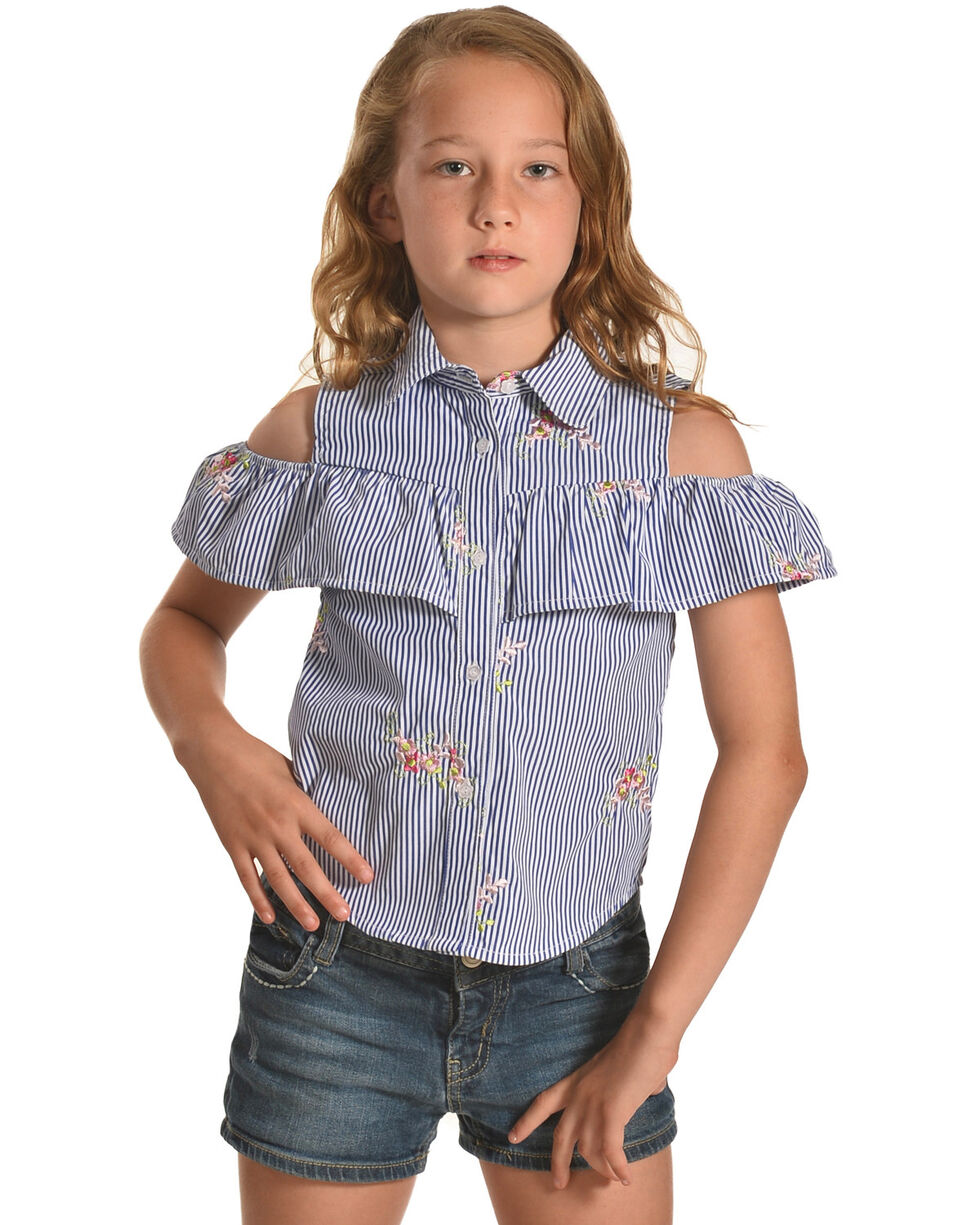 Idol Mind Girls' Blu Peek-A-Boo Ruffle Shirt , Blue, hi-res