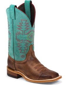 Justin Women's Aztec Bent Rail Western Boots, Rust, hi-res