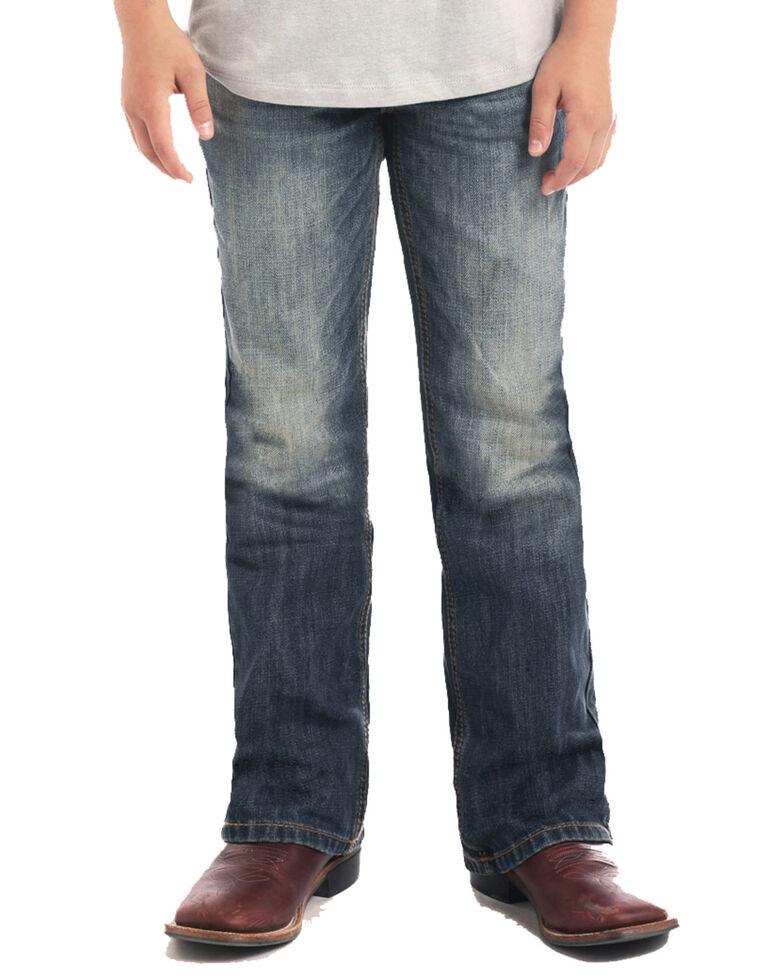 Rock & Roll Denim Boys' Large V Flat Seam Vintage Boot Jeans , Blue, hi-res