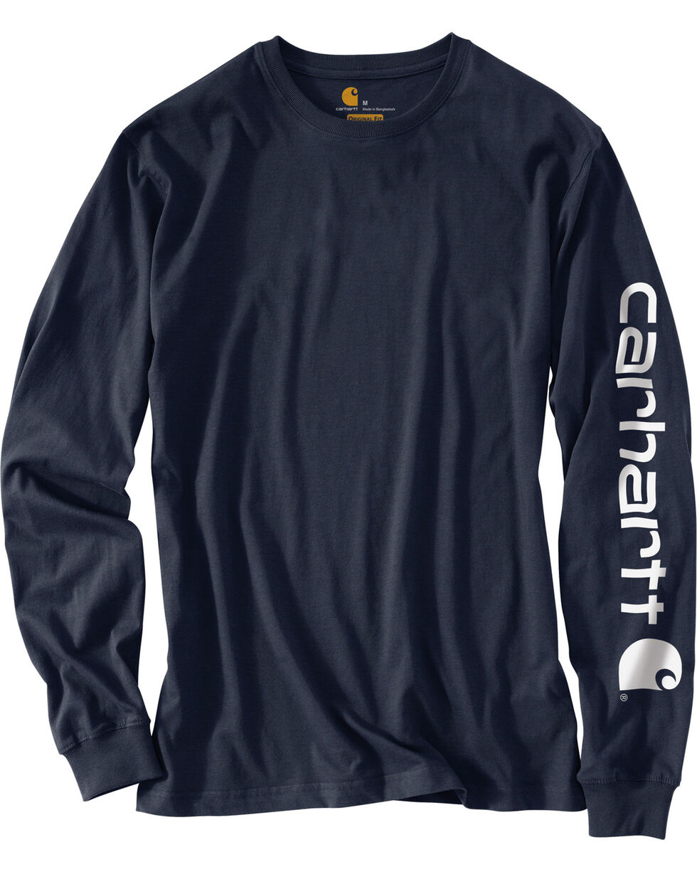 Carhartt Men's Long Sleeve Graphic T-Shirt, Navy, hi-res