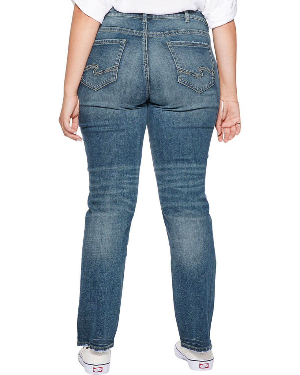 Silver Women's Suki Straight Leg Jeans - Plus Size , Indigo, hi-res