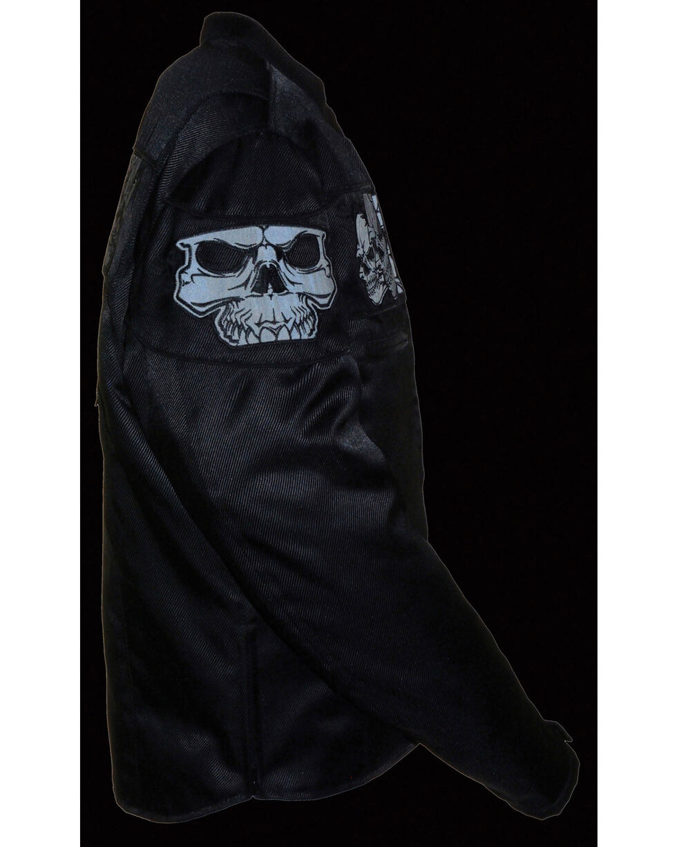 Milwaukee Leather Men's Reflective Skulls Textile Jacket, Black, hi-res