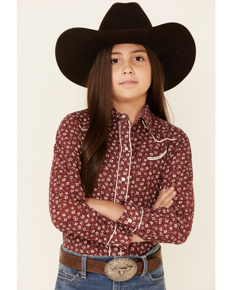 Roper Girls' Burgundy Floral Print Long Sleeve Snap Western Shirt , Burgundy, hi-res