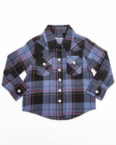 Wrangler Toddler Boys' Blue Plaid Long Sleeve Western Shirt , Blue, hi-res
