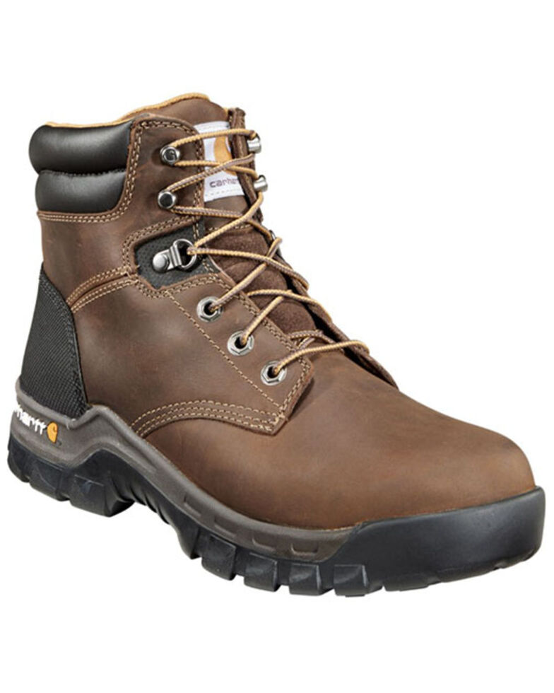 "Carhartt Men's Rugged Flex 6"" Lace-Up EH Work Boots - Round Toe, Brown, hi-res"