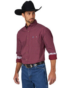 George Strait by Wrangler Men's Circle Geo Print Long Sleeve Western Shirt , Burgundy, hi-res
