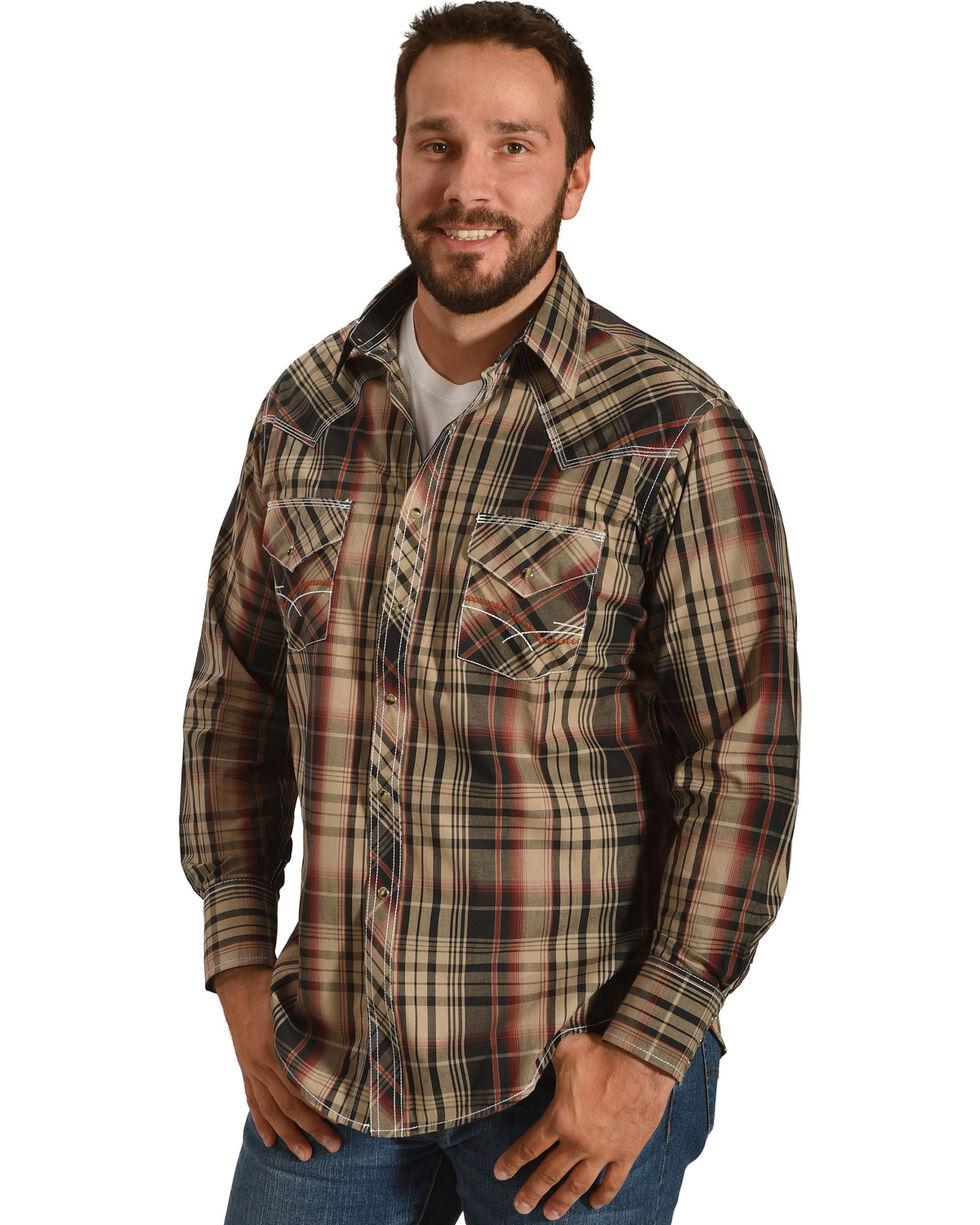 Ely 1878 Men's Burnt Orange Plaid Contrast Stitching Western Shirt, Brown, hi-res