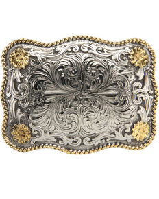 AndWest Men's Rectangular Scallop Rope & Floral Belt Buckle, Two Tone, hi-res