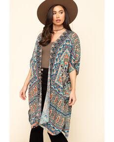Angie Women's Turquoise Tile Print Challis Kimono , Turquoise, hi-res