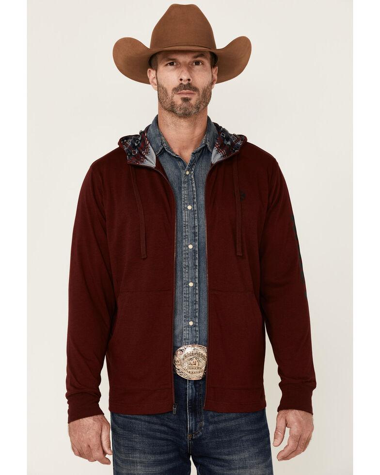 HOOEY Men's Maroon Light Weight Logo Zip Hooded Sweatshirt, Burgundy, hi-res