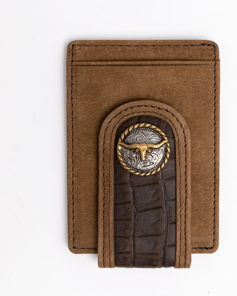Cody James Men's Croc Embossed Money Clip Leather Wallet , Brown, hi-res