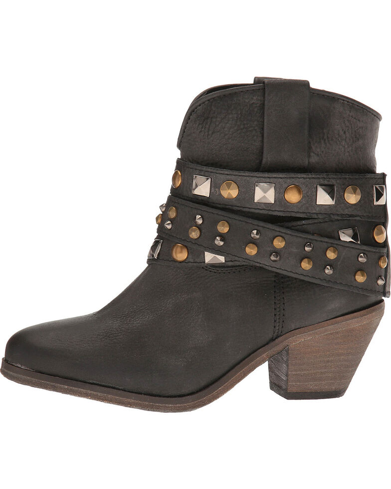 Corral Women's Urban Studded Strap Fashion Boots, Black, hi-res