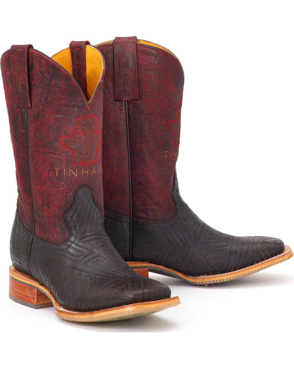 Tin Haul Men's Chick Magnet Rule the Roost Sole Cowboy Boots - Square Toe, Grey, hi-res