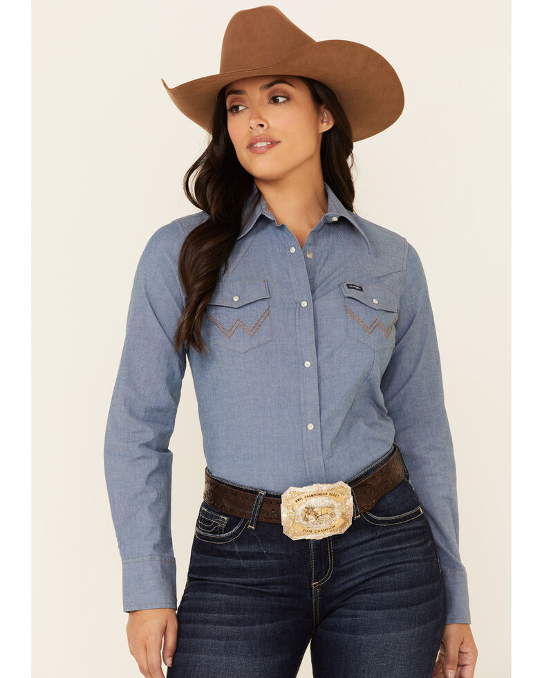 Wrangler Women's Solid Chambray Denim Long Sleeve Snap Western Core Shirt , Blue, hi-res