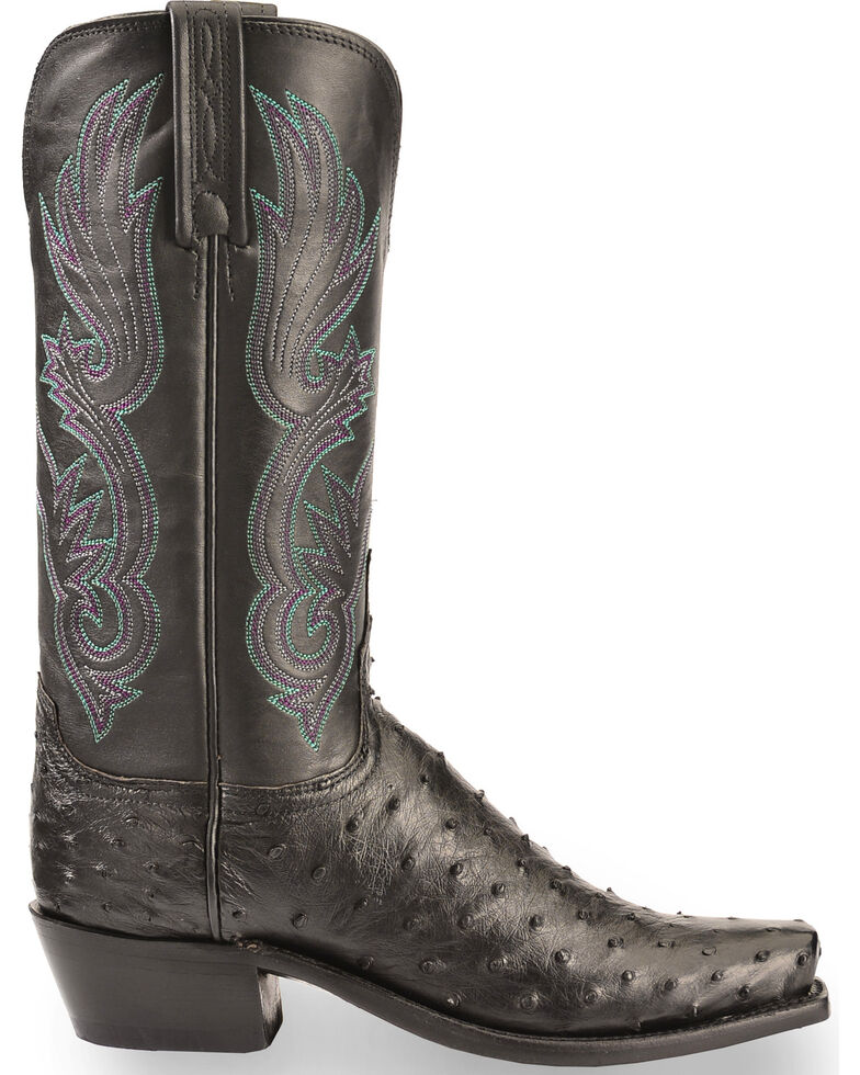 Lucchese Women's Handmade Black Dolly Full Quill Ostrich Western Boots - Square Toe, Black, hi-res