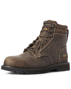 Ariat Men's Groundbreaker Work Boots - Steel Toe, Brown, hi-res