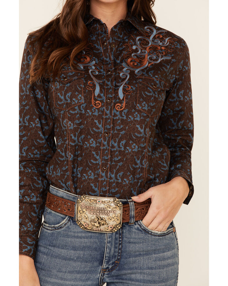 Panhandle Women's Floral Scroll Embroidered Long Sleeve Western Shirt , Brown, hi-res