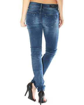 Grace in LA Women's Destructed Simple Skinny Jeans , Indigo, hi-res