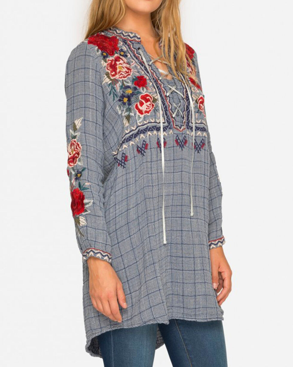 Johnny Was Women's Mica Laceup Henley Tunic , Light Blue, hi-res