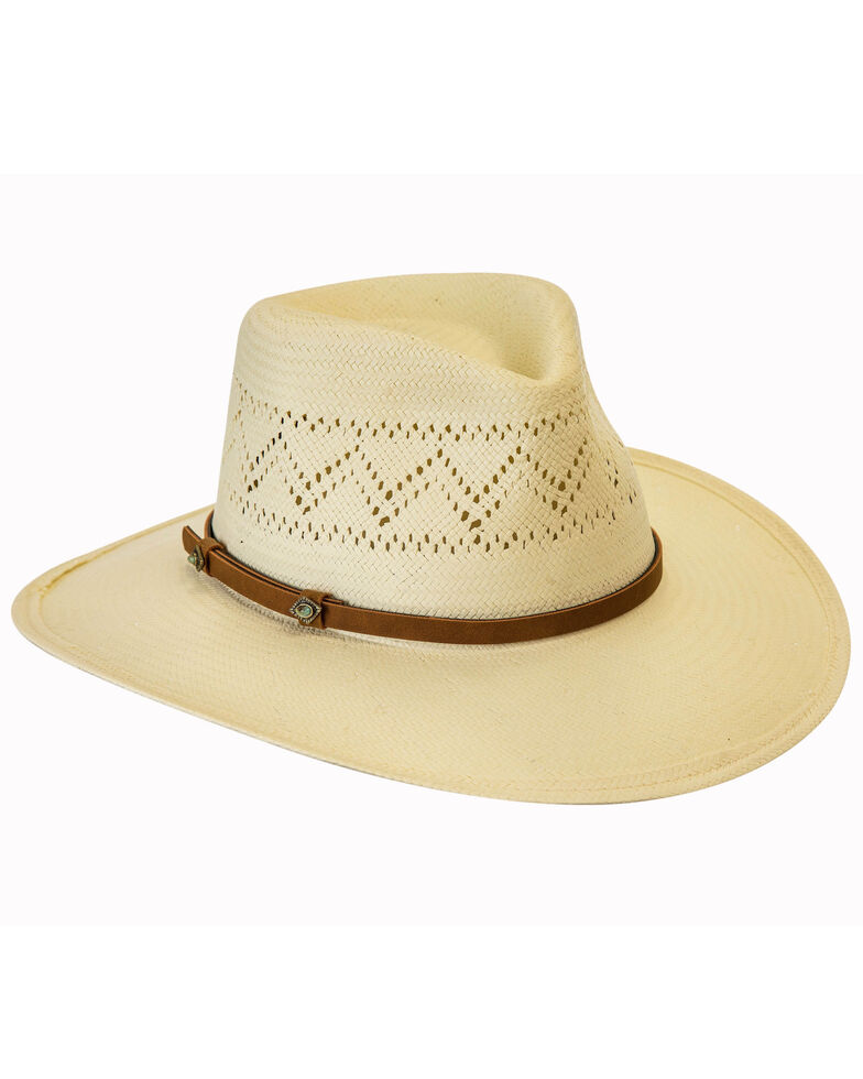 Black Creek Ivory Western Paper Straw Hat , Ivory, hi-res