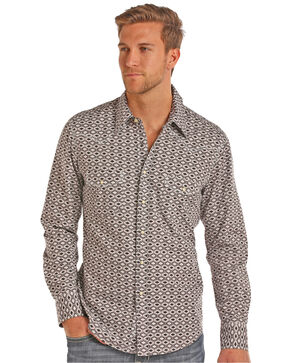 Rock & Roll Cowboy Men's Stone Washed Aztec Print Long Sleeve Snap Shirt, Brown, hi-res