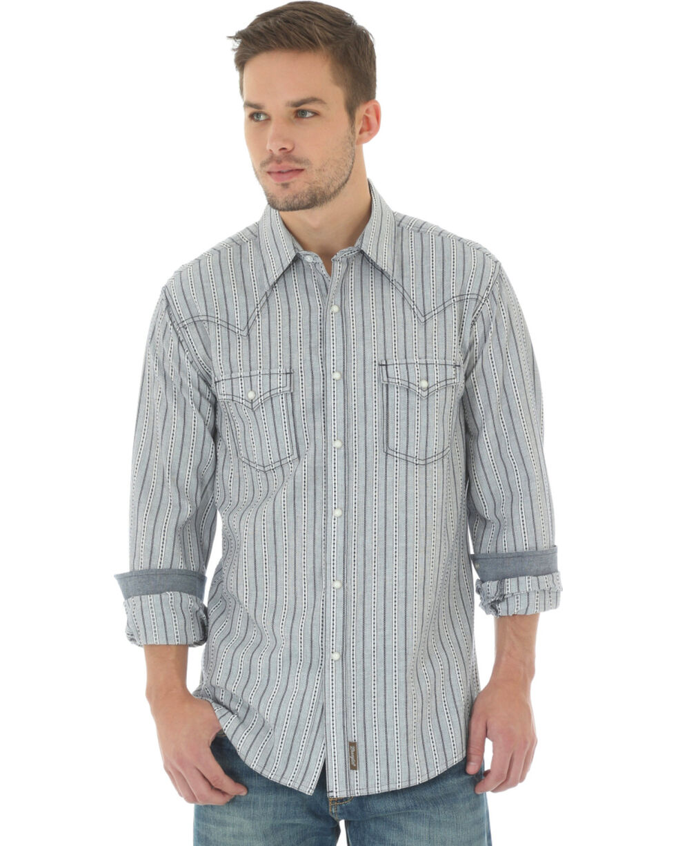Wrangler Men's Retro Pattern Long Sleeve Shirt, Natural, hi-res