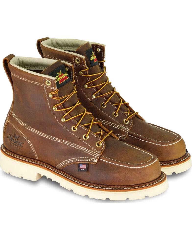 "Thorogood Men's American Heritage Classics 6"" Moc Toe Work Boots - Steel Toe, Brown, hi-res"